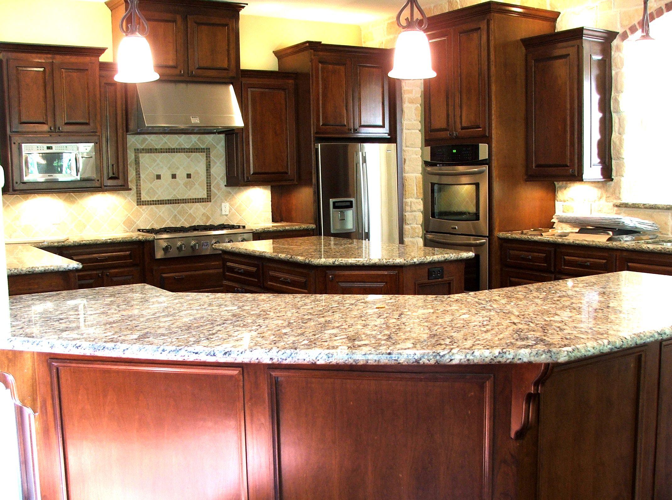 Cherry cabinets with granite countertop Pretty but center island