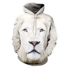 Nueva Moda de Primavera Hoodies Deporte de Los Hombres Estilo Pensonality  Blanco 3D Lion Impreso Sudadera Hip Hop… bbda45a8078
