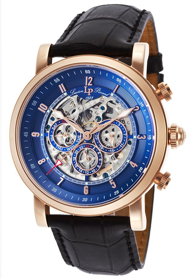 Image for Sultan Automatic Multi-Function Black Genuine Leather Blue Dial from World of Watches
