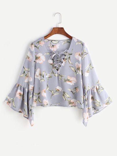 7ea9c86cc Flower Print Lace Up Fluted Sleeve Blouse Mangas Acampanadas