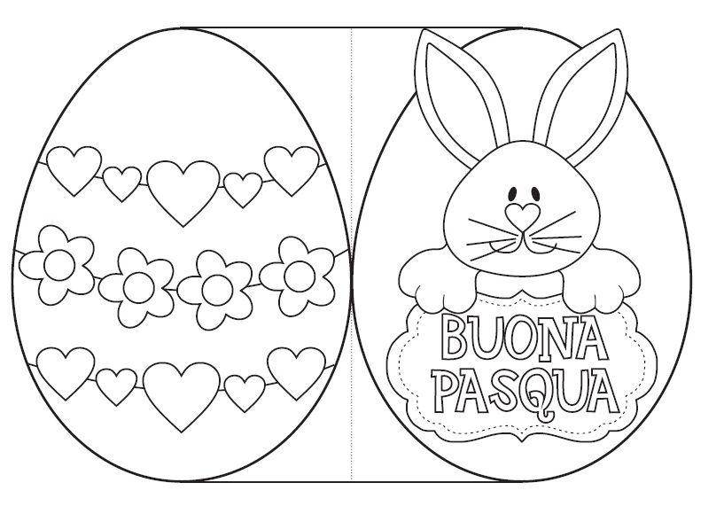 Biglietto Buona Pasqua A Forma Di Uovo Da Ritagliare E Colorare