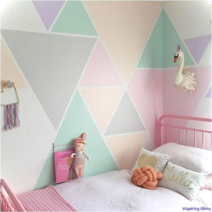 Triangles painted for a girls room #girlrooms