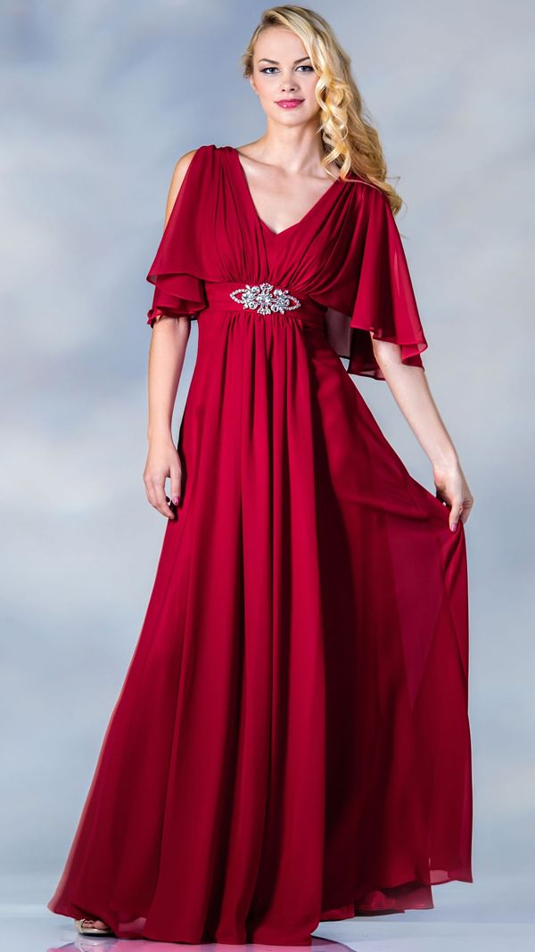 ce78cc86cec Red Butterfly Sleeves Modest Evening Gowns - Discountdressup Store ...
