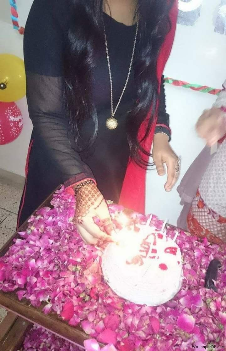 Image for Girl Celebrating Birthday and Cutting Cake Dp Pic