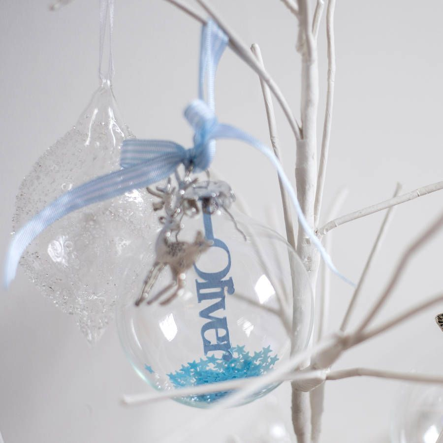 Handmade glass christmas ornaments - Personalised Papercut Baby S First Christmas Bauble