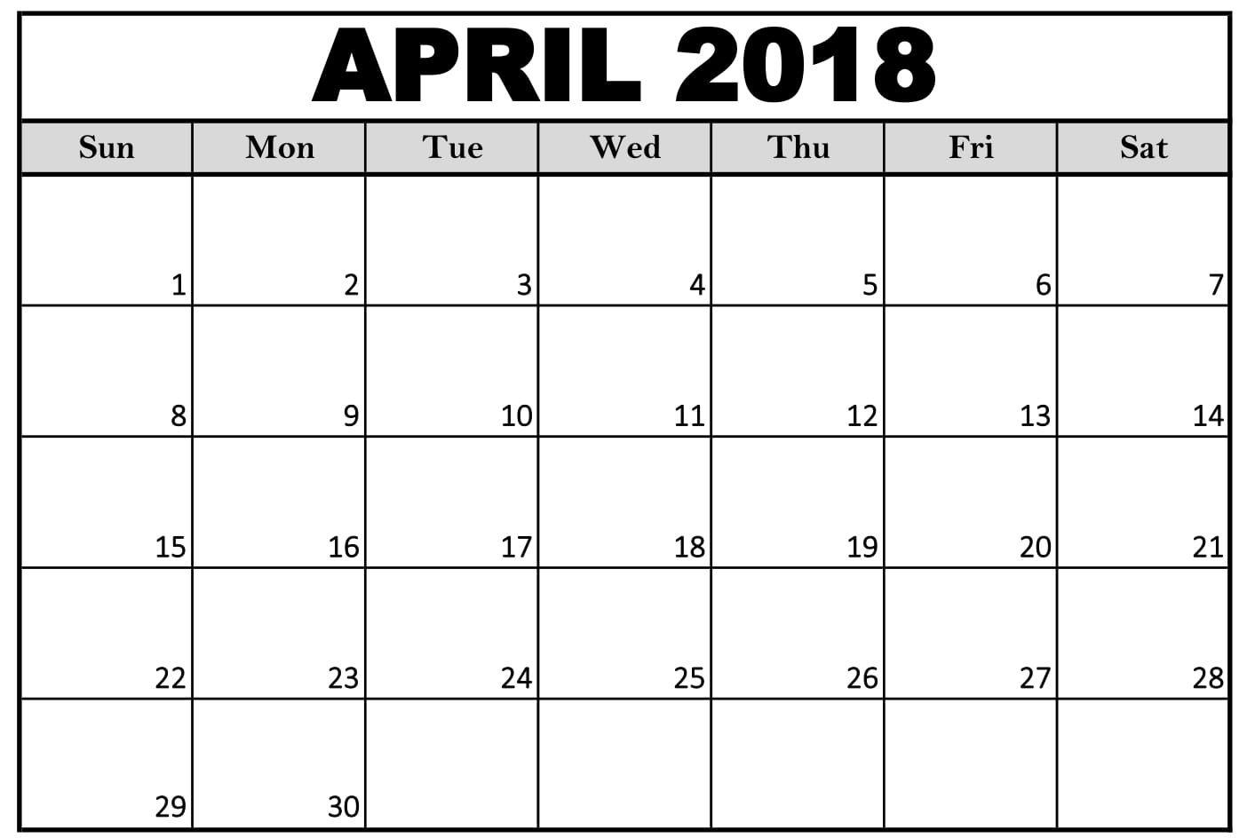 April 2018 Calendar Page Word Excel Pdf Template Calendar