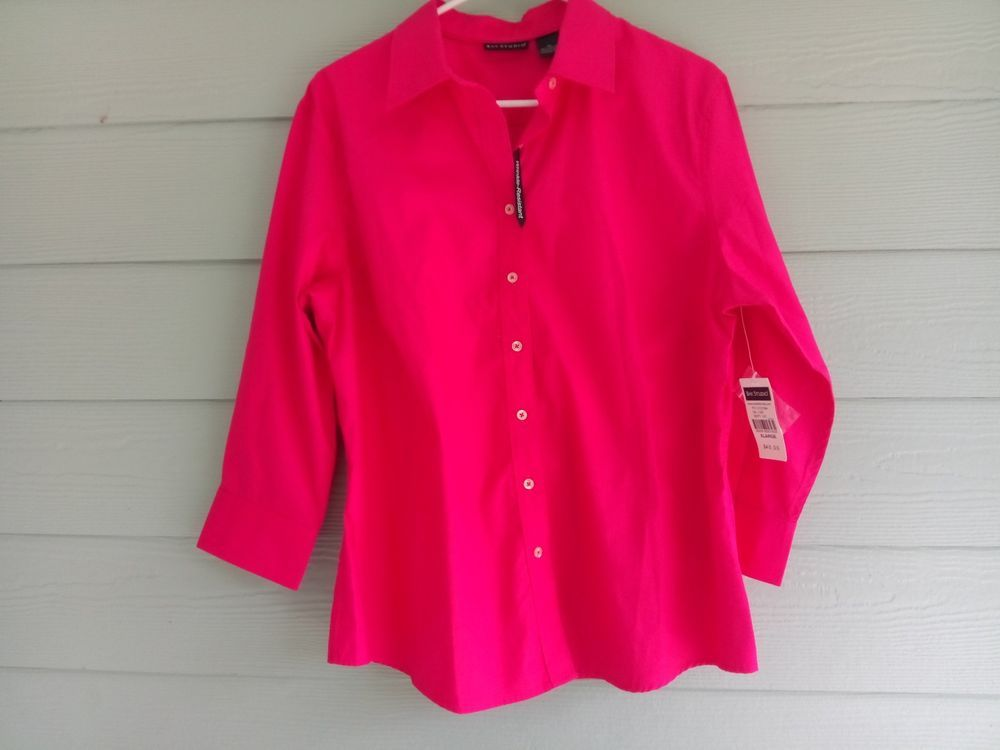 d2443ee05 Bay Studio Women s Blouse Top XL Pink Button Down 3 4 Sleeve Wrinkle ...