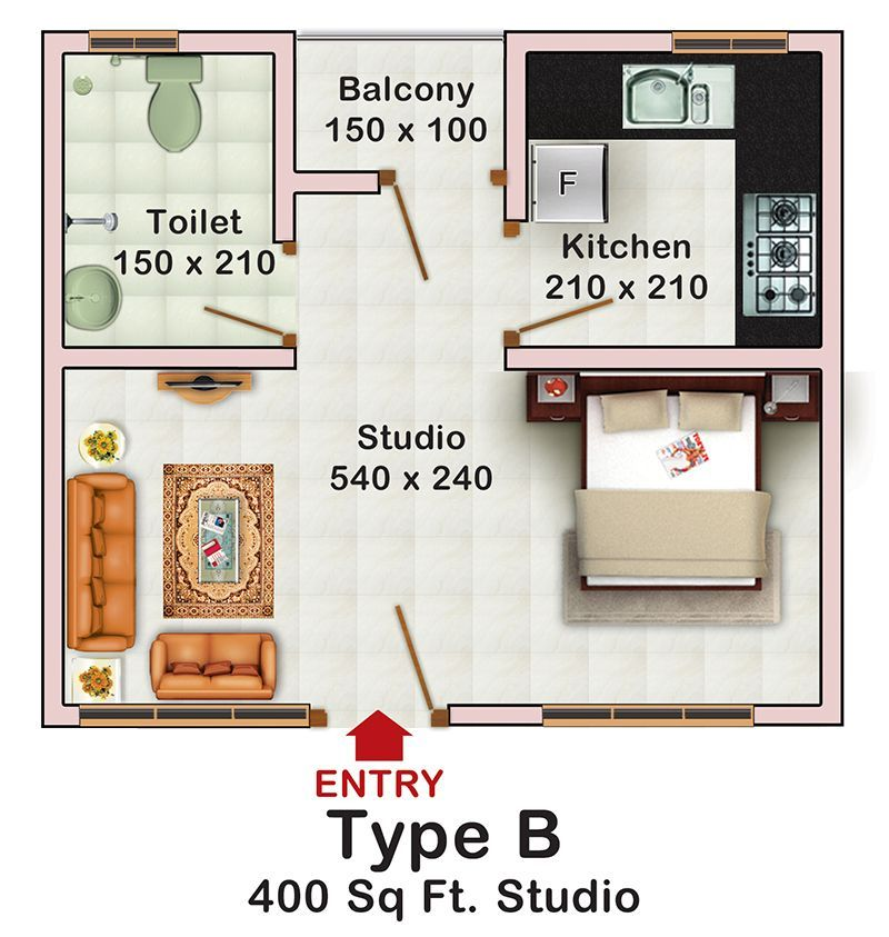 Decorating a studio apartment 400 square feet 400 sq ft for Studio floor plans 300 sq ft