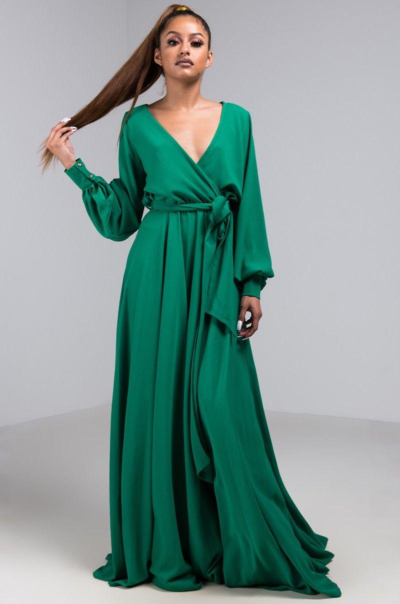 Front View Gone With The Wind Pearl Cuffed Maxi Dress In Green Maxi Dresses Fall Maxi Dress Maxi Wrap Dress [ 1209 x 800 Pixel ]