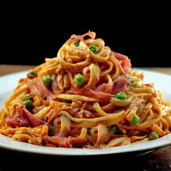 Creamy Tomato Parmesan Linguine with Peas and Prosciutto, and Part 22 Recipe