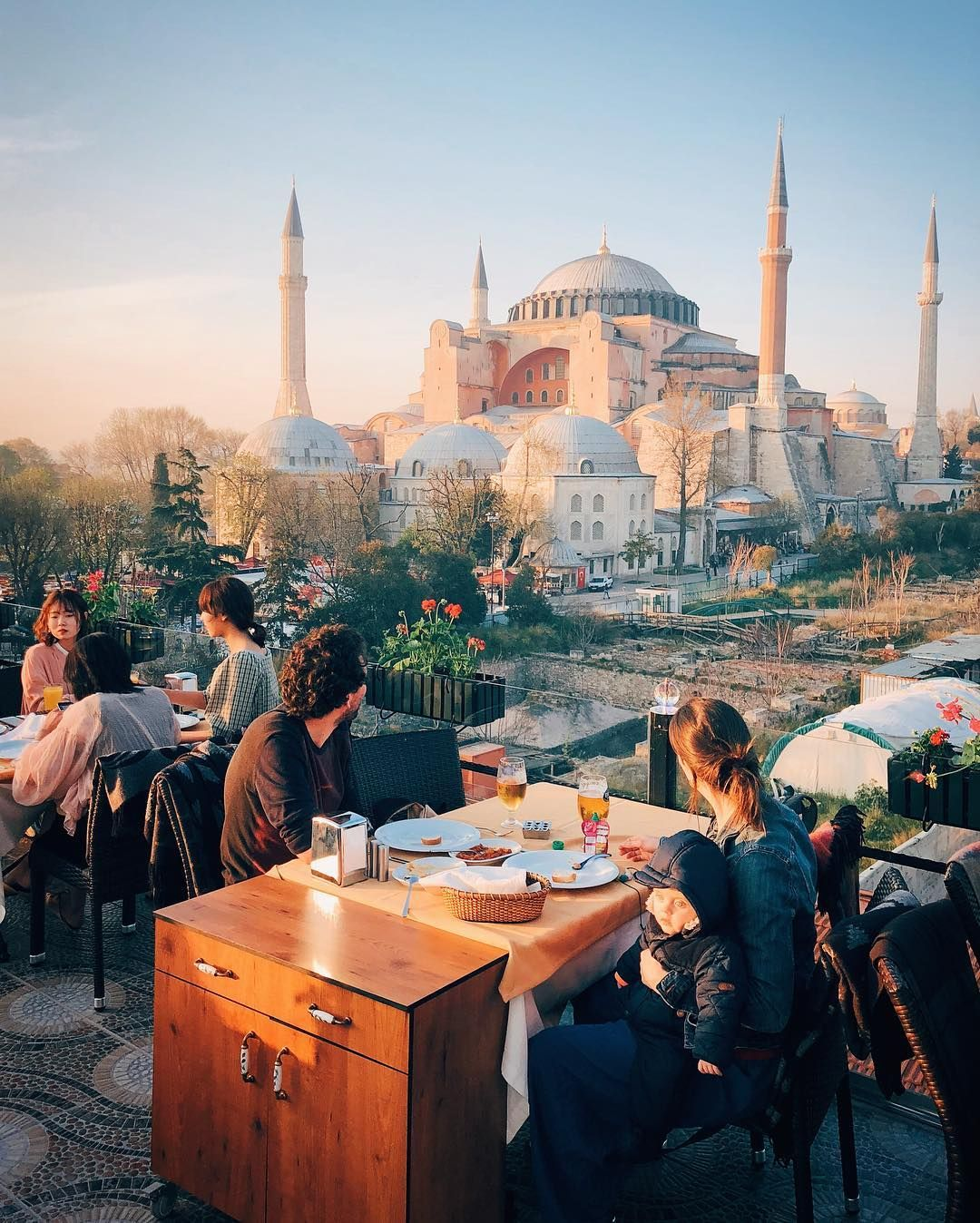 Rooftop Restaurant Next To Our Hotel Fssultanahmet With A Picturesque Views Of Hagiasophia Mosque Istanbul Hagia Sophia Instagram Pictures
