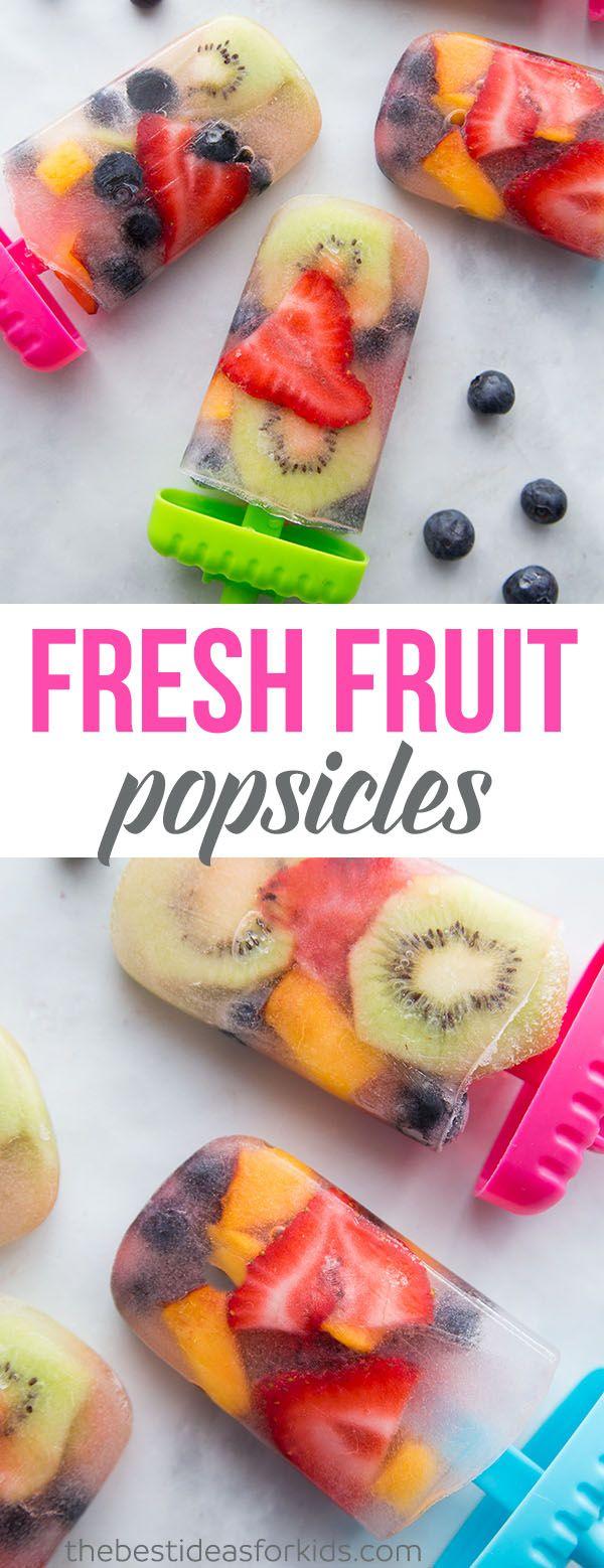 Homemade Fresh Fruit Popsicles #homemadepopsicleshealthy