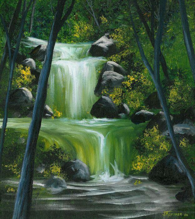 Waterfall Painting Waterfall Paintings Landscape Paintings Acrylic Landscape Paintings