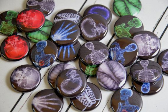 20 X-Ray Pin Back Badges, 1\ - halloween party decorations for adults