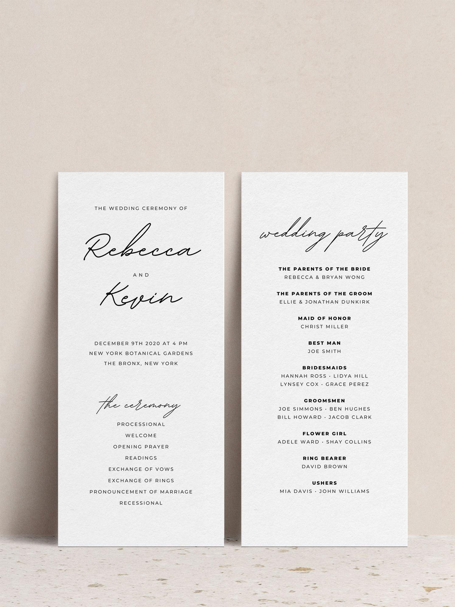 Editable Wedding Program Template  Printable Wedding Program | Etsy
