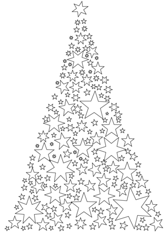 Christmas Tree Made Of Stars Coloring Page Printable Christmas Coloring Pages Christmas Tree Coloring Page Star Coloring Pages