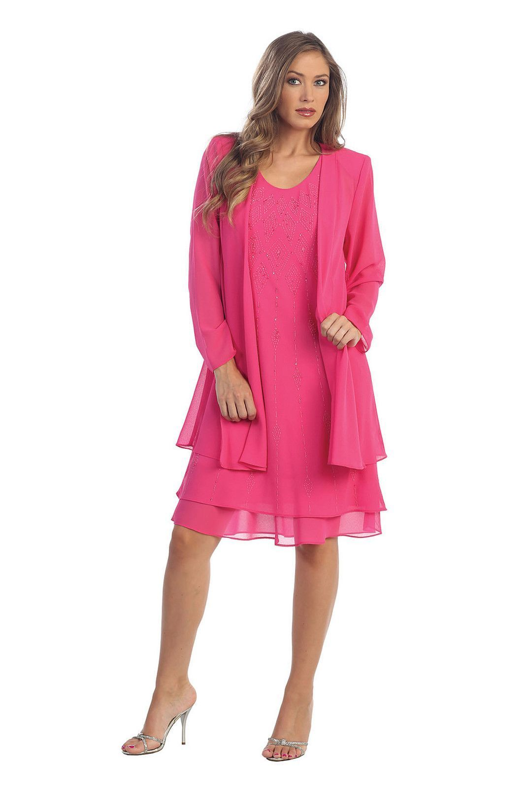 Short mother of the bride formal dress long jacket plus size the