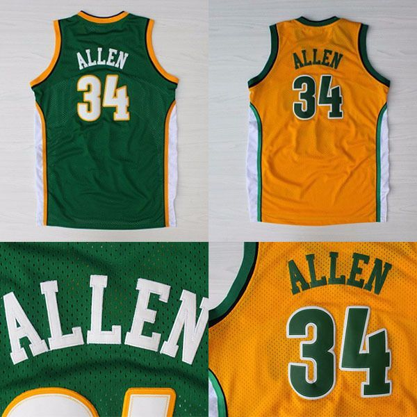 detailed look c821d 59c83 Aliexpress.com : Buy Seattle 34 Ray Allen Basketball Jerseys ...