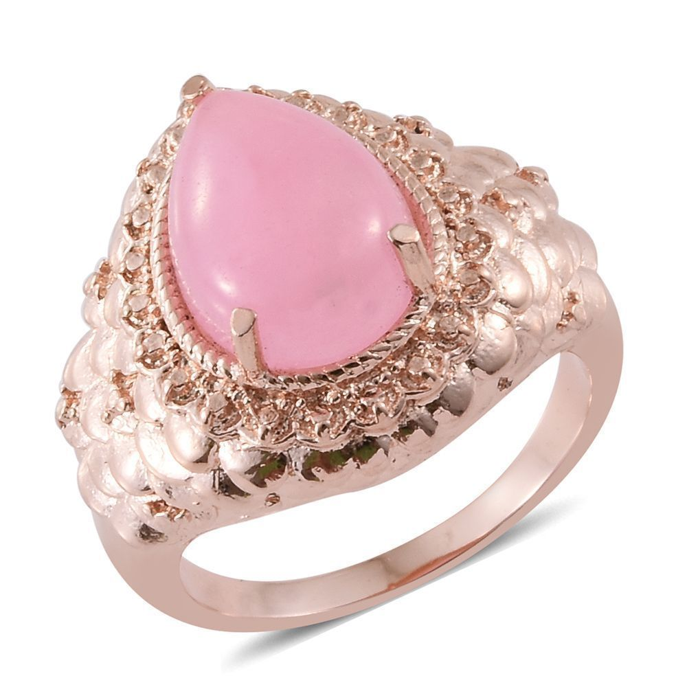 PINK JADE CABOCHON SOLITAIRE RING 18K RG BONDED STAINLESS STEEL ...