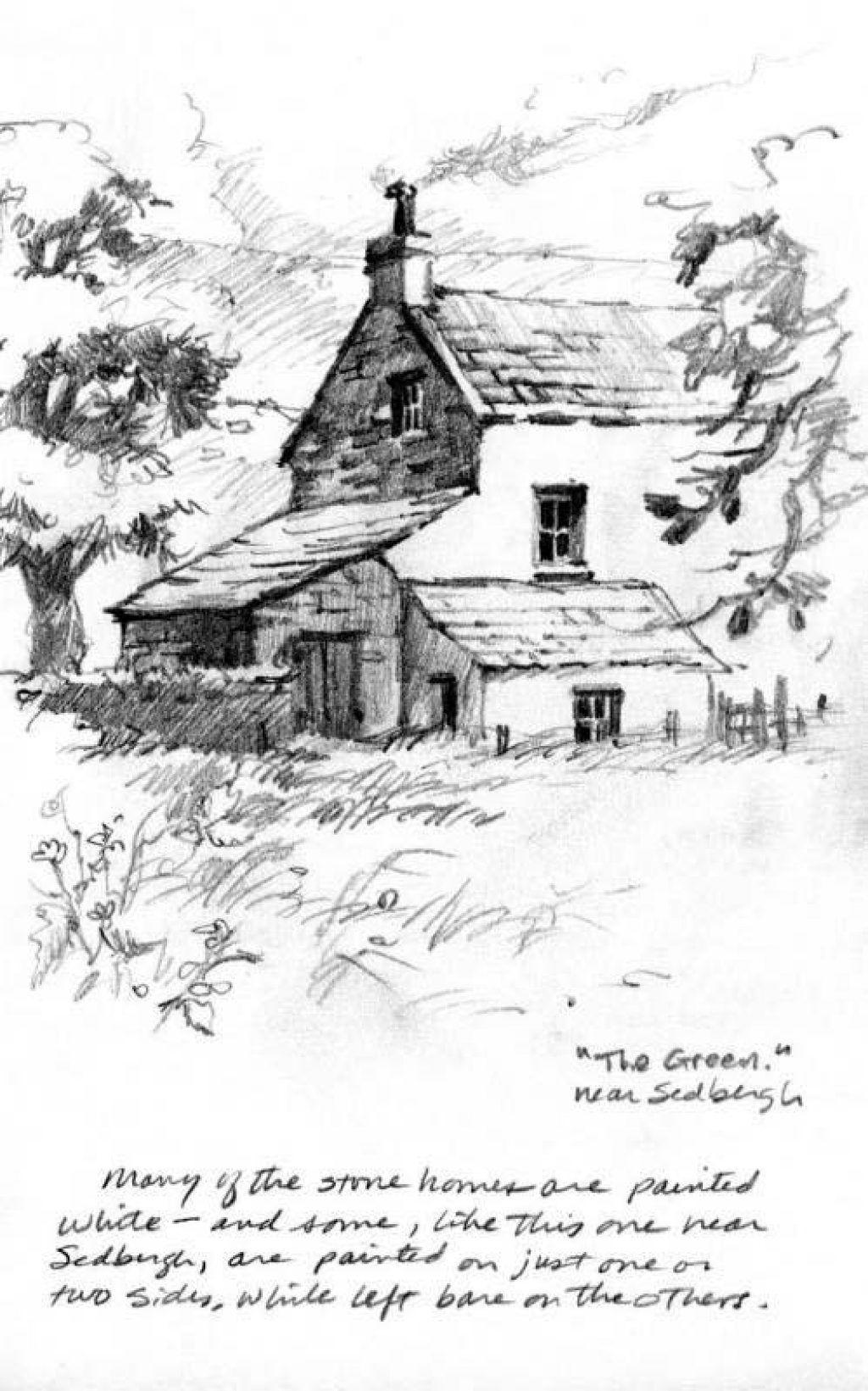 Pencil sketchbook drawing of farm near Sedbergh ...