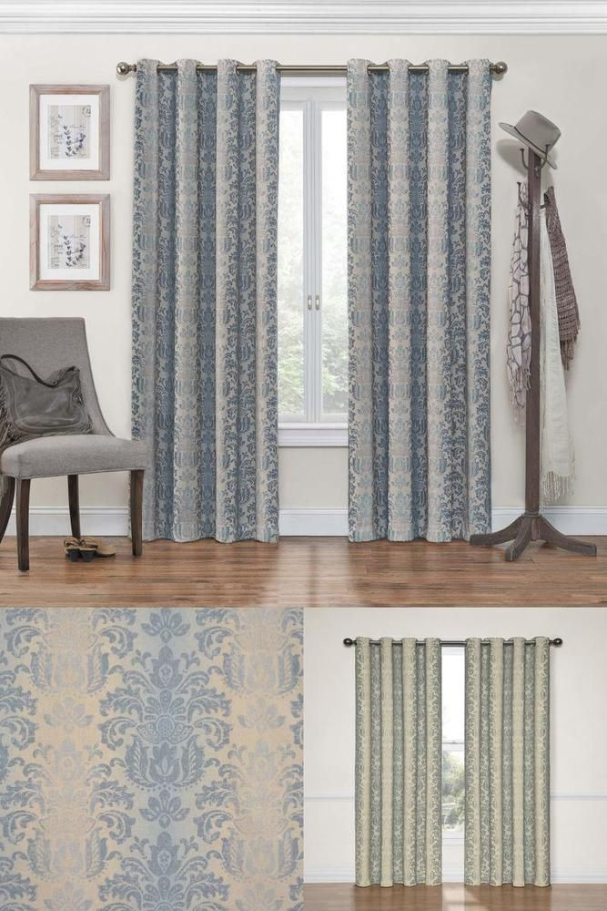 Window Curtains 95 Inch Long Grommet Blackout Single Panel Smokey Blue EclipseCurtains