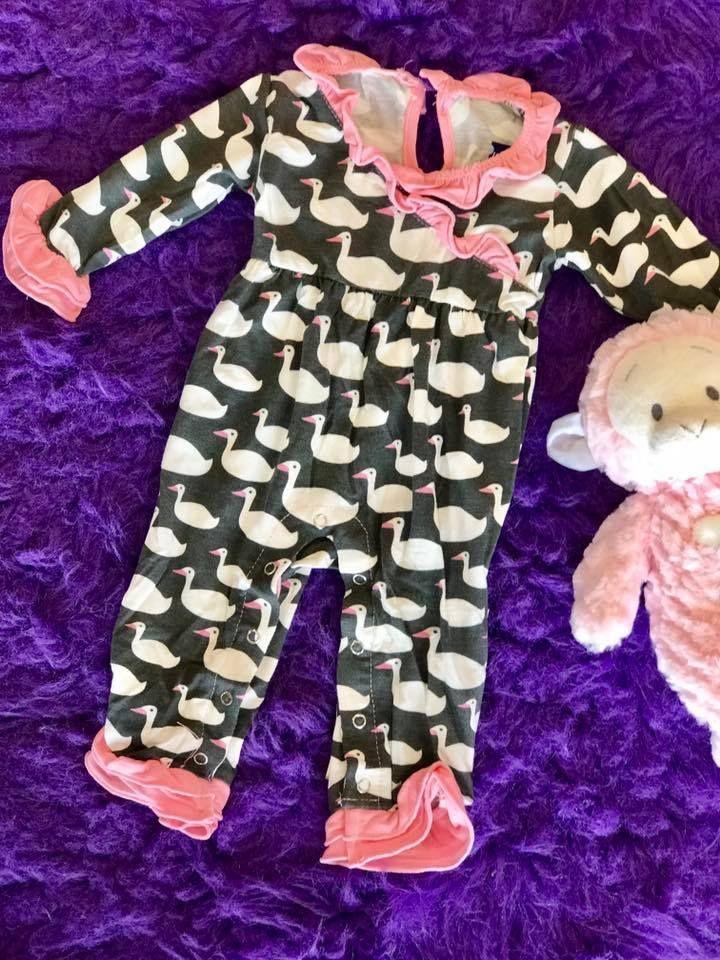 1c87ce14a0fd KicKee Pants 2017 Fall Girls Stone Geese Long Sleeve Kimono Ruffle Romper