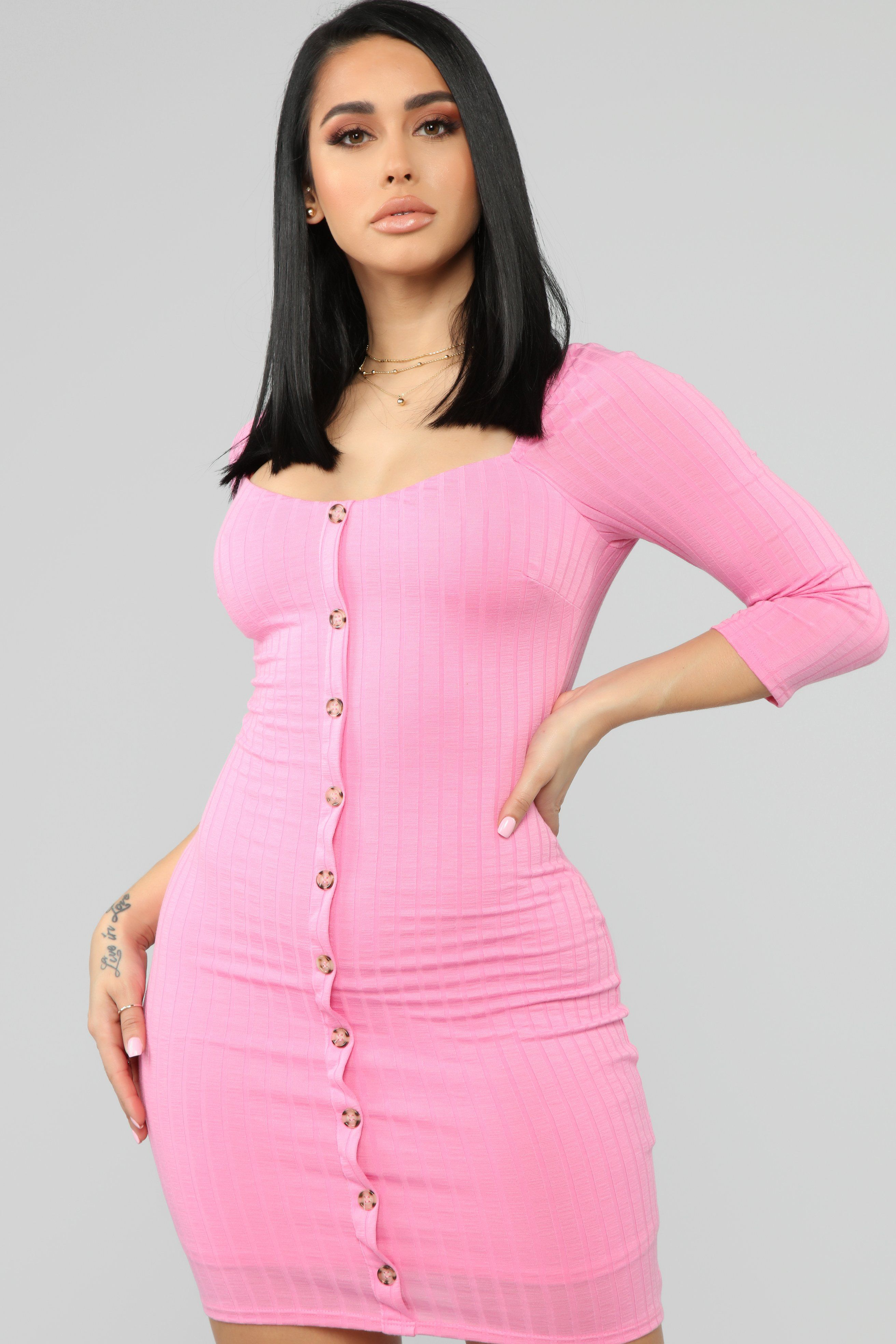 Push A Button Ribbed Mini Dress BubbleGum in 2020 (With