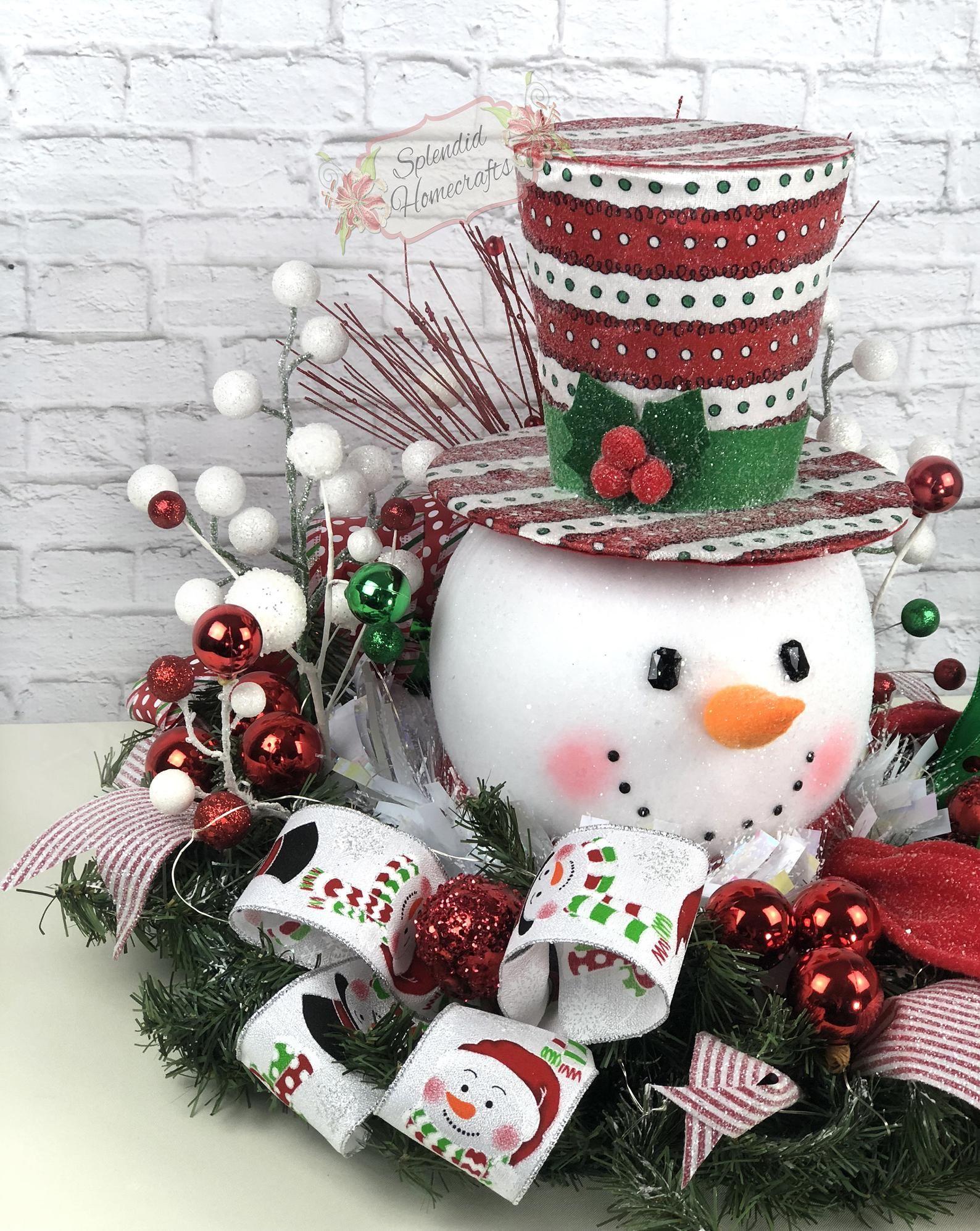 Light up Snowman Centerpiece, Christmas Centerpiece, Red