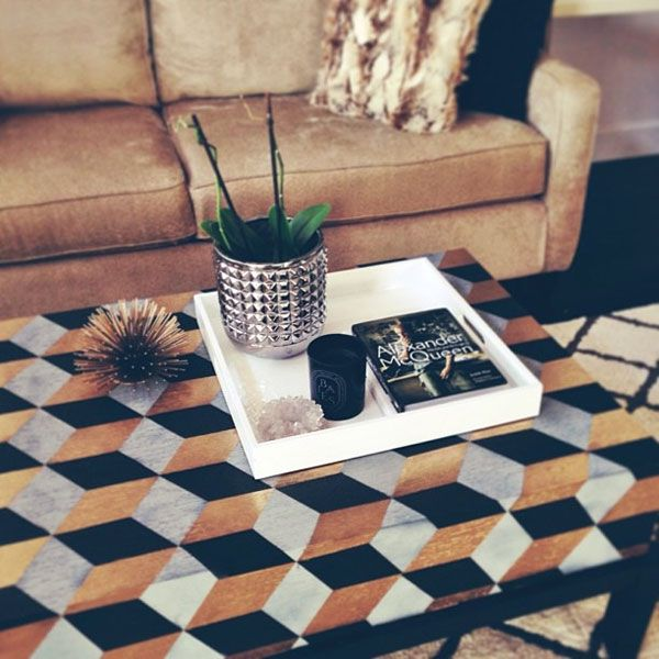 Before And After Geo Inspired Coffee Table Makeover