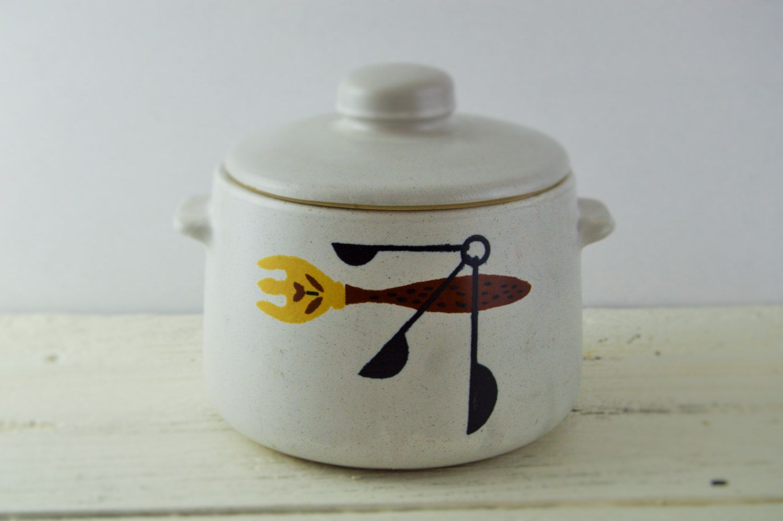 MId Century Crock Bean Pot Retro Mid Century Kitchen by GenerationUpcycle on Etsy