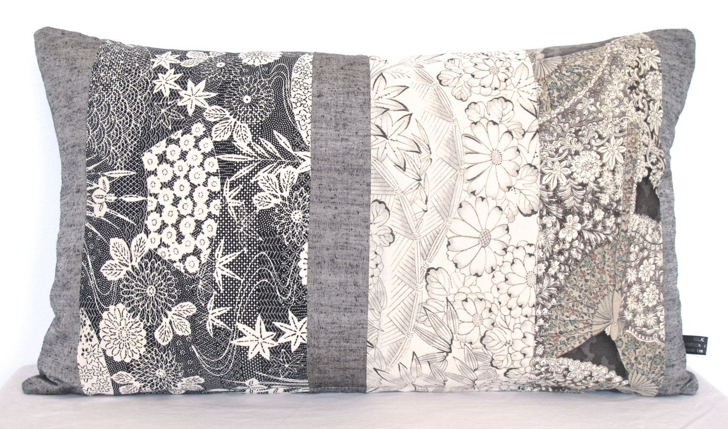 Oblong Decorative Pillow Cushion In Black White Grey Floral