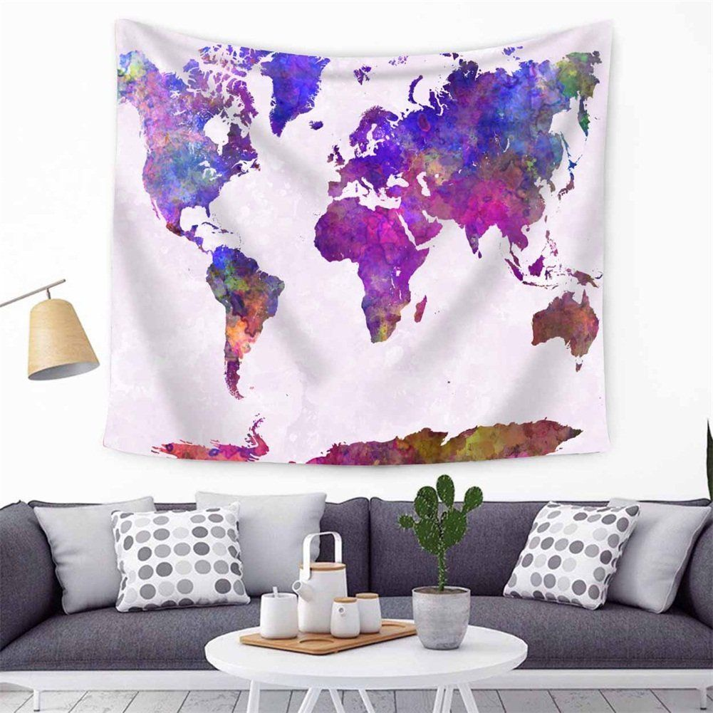 World Map Wall Hanging Tapestry Decor Tapestries Print Painting - Cloth world map wall hanging