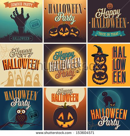 Halloween Posters set Vector illustration Haunted Halloween - halloween poster ideas