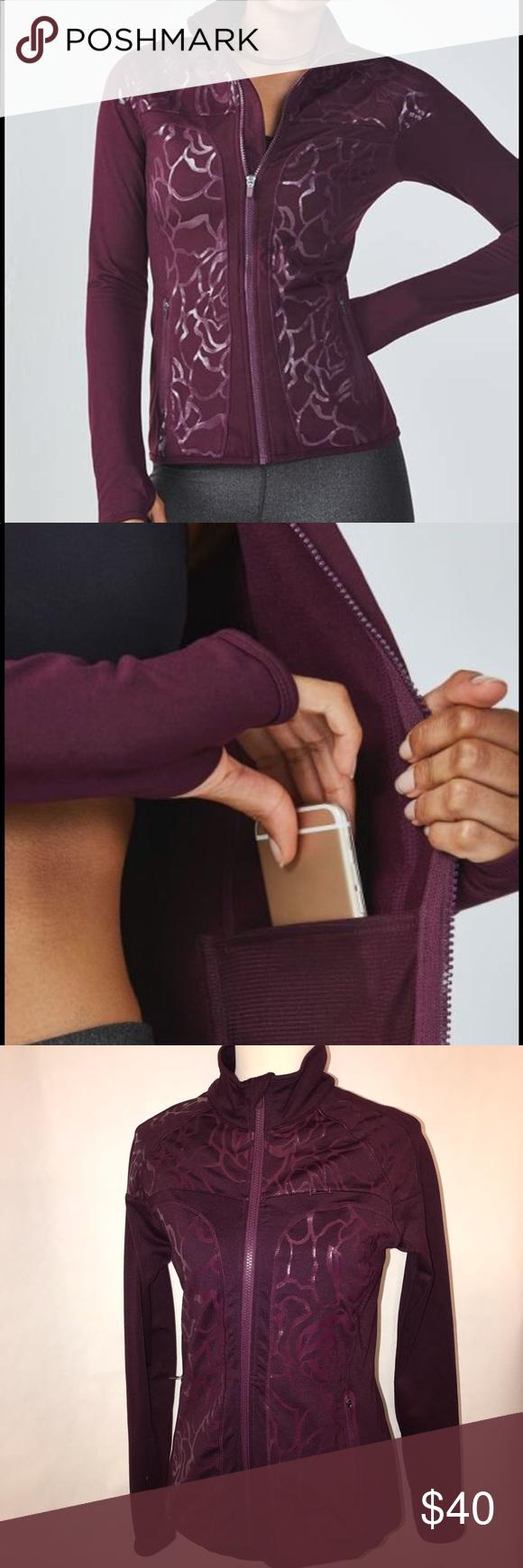hight resolution of fabletics euc rose pattern wine color jacket euc wine color with rose pattern has inside pocket