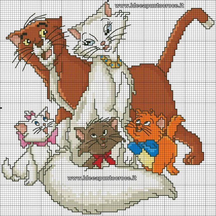 Открытки, рисунки по клеточкам коты аристократы