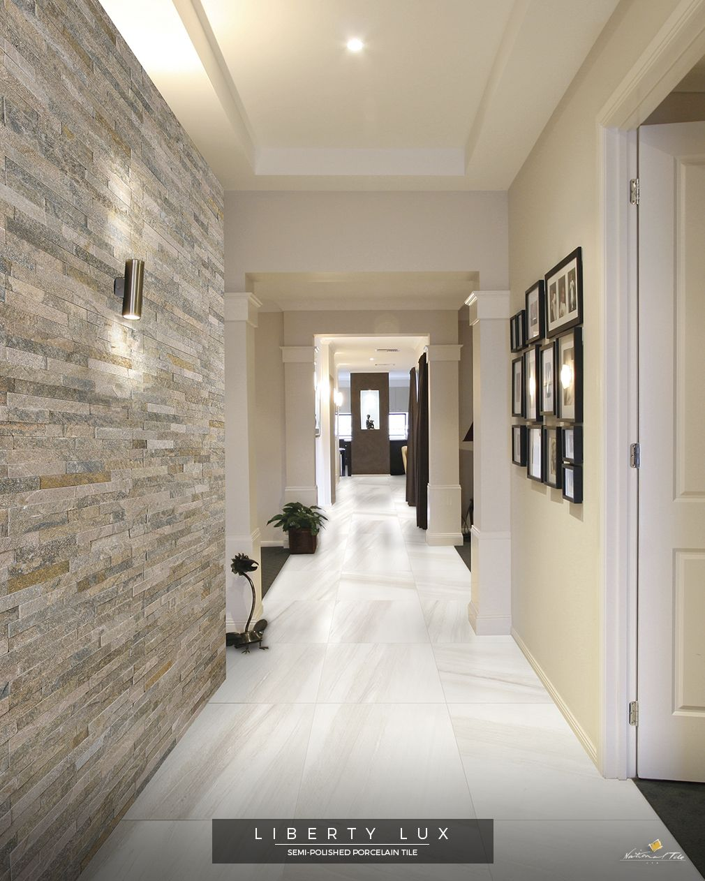 Beautiful Hallway With The Slate Stone Wall Cladding Tile Alpes Mix And Light Semi Polished Porcelai Tile Cladding Stone Cladding Interior Stone Feature Wall