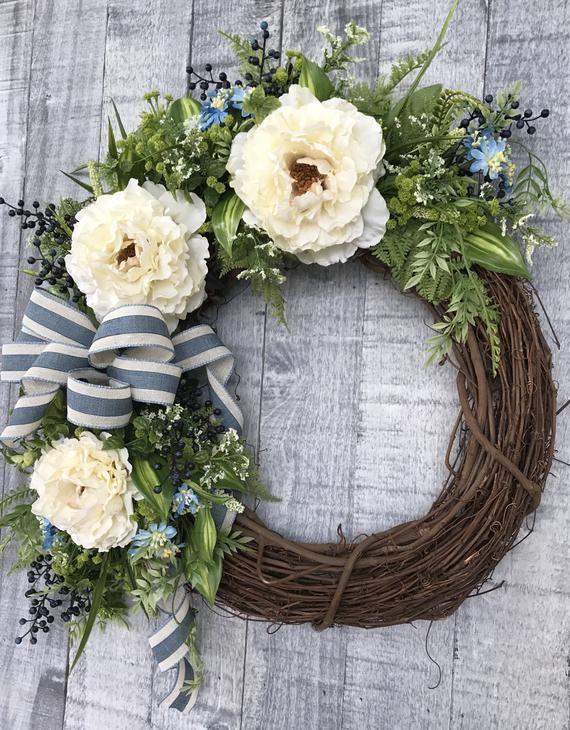 Photo of Summer wreath front door Spring wreath front door Wildflower summer wreath Farmhouse wreath Front door Southern summer wreath door decor