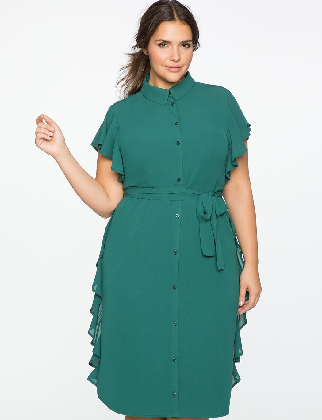 Shirt Dress with Side Tie and Flounce | Women's Plus Size Dresses | ELOQUII