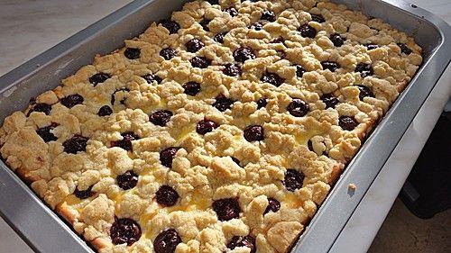 Käse - Kirschkuchen vom Blech (Rezept mit Bild) von ufaudie58   Chefkoch.de