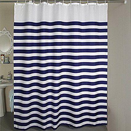 Amazon Com Nautical Stripes Extra Long Shower Curtain 72 X 75