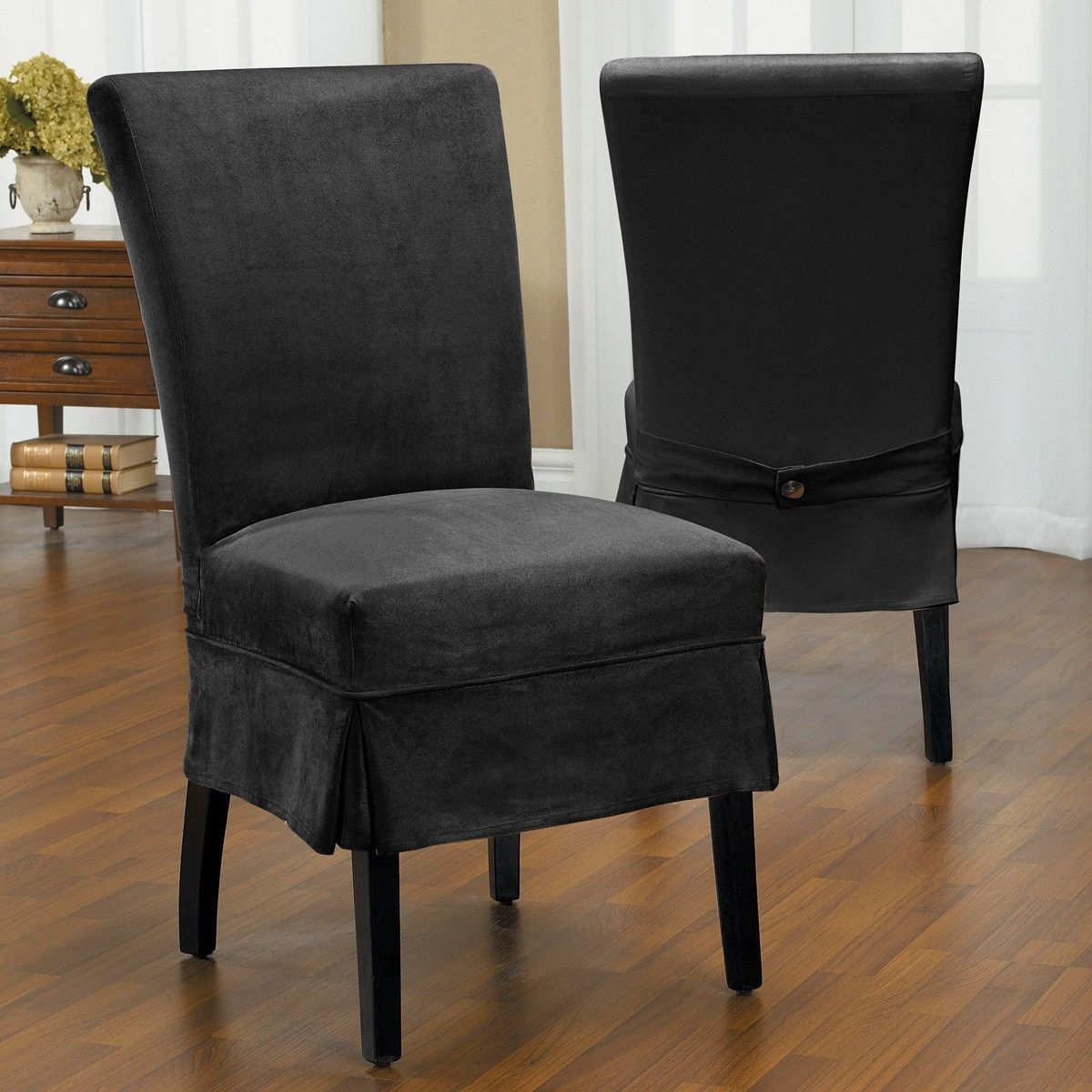 QuickCover Luxury Suede Mid Pleat Relaxed Fit Dining Chair