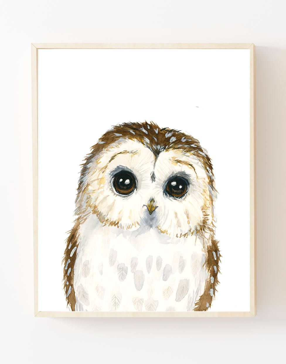 Watercolor Baby Owl Owlet Painting Woodland Nursery Animal Etsy