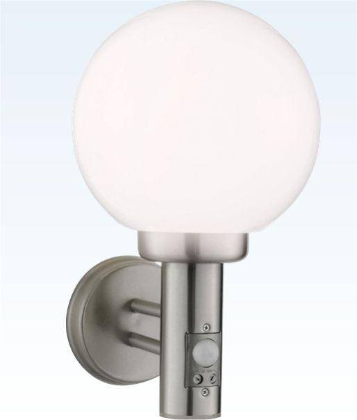 Opal Globe Exterior Wall Light With Pir Globe Wall Light Steel