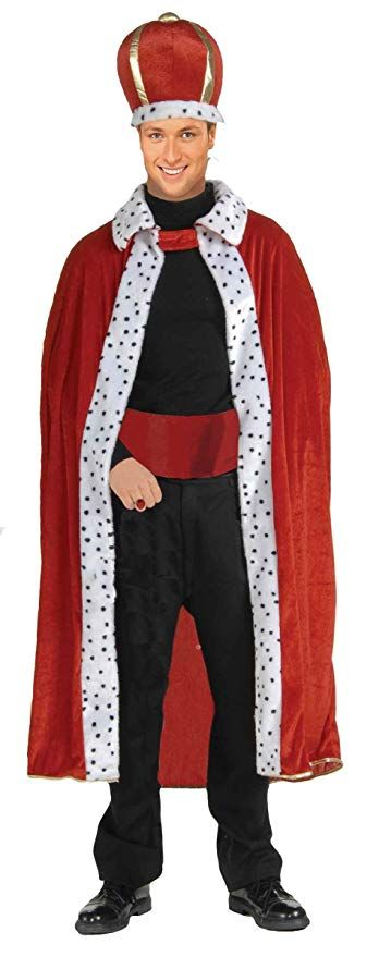 Mens Adult Red Deluxe Knight Royal King Robe /& Crown Halloween Costume Set
