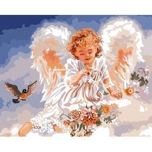 Ангелочек и птичка Раскраска картина по номерам акриловыми ...