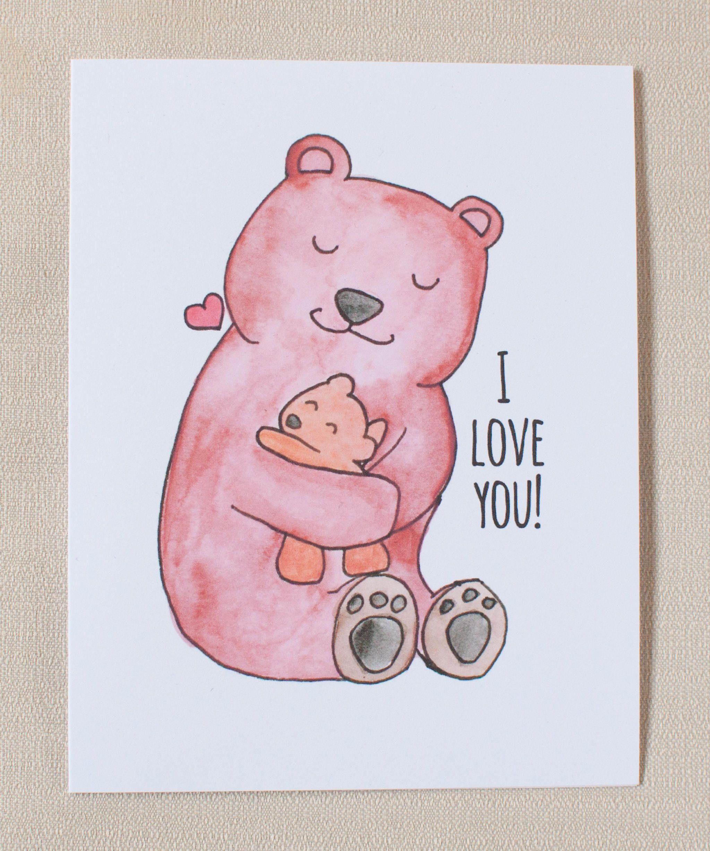 Bear Love Greeting Card Papa Mama Baby I Love You Thank Etsy Bear Card Mama Bear Baby Bear Cards