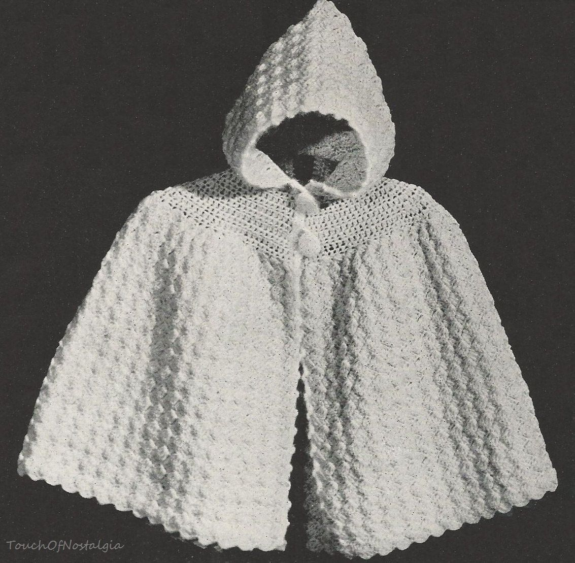 Crochet Baby CAPE Pattern Vintage 1940s - Cuddly HOODED Cape Pattern ...