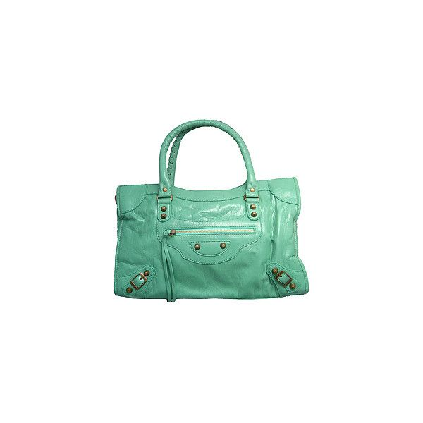 03a8ae3513 Replica Balenciaga Motorcycle Le Dix Bag Seafoam Green ❤ liked on Polyvore  featuring bags