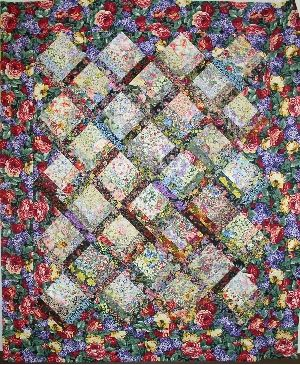 Floral Monet Half Log Cabin Quilt Set On Point Watercolor