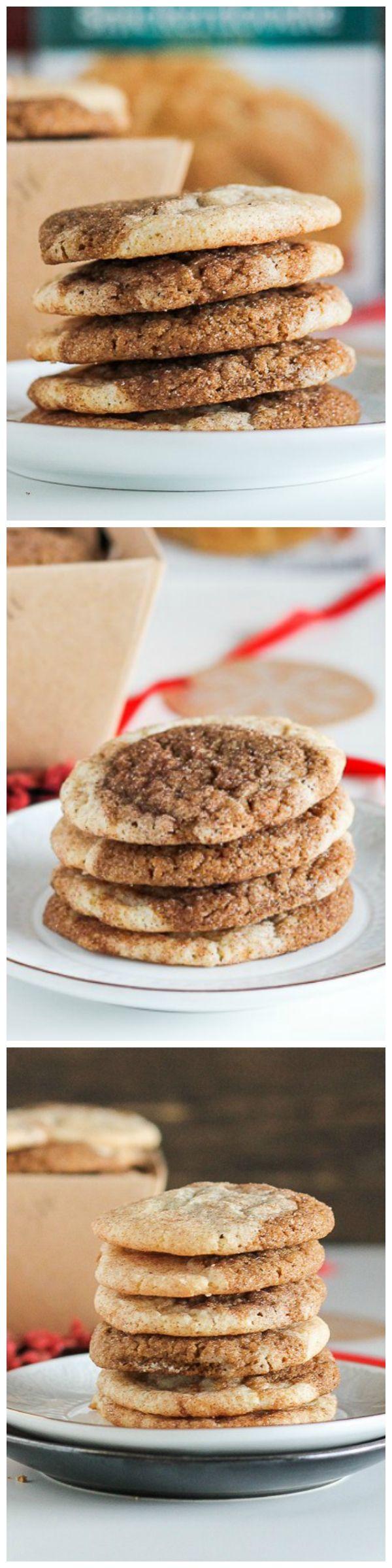 These Gingerbread Snickerdoodles - so easy to make, you won't believe it! They're super soft and chewy. #holidays #cookies #snickerdoodles #christmas